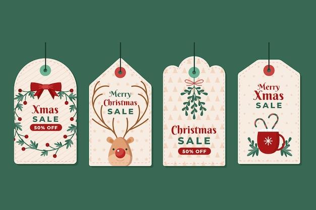 Рождественская распродажа в плоском дизайне Бесплатные векторы