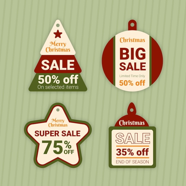 Flat design christmas sale tag illustration collection Free Vector