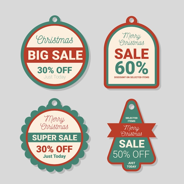 Flat design christmas sale tag pack Free Vector