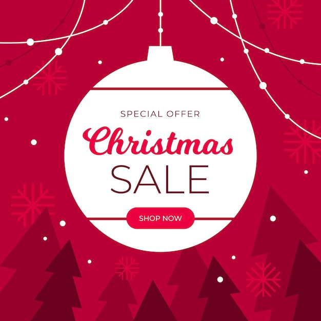 Flat design christmas sale Premium Vector