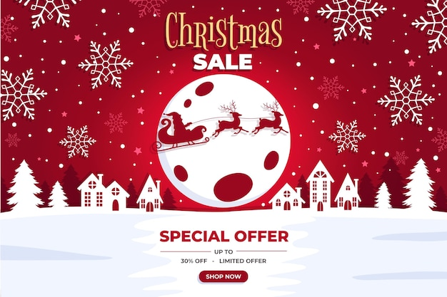 Flat design christmas sale Free Vector