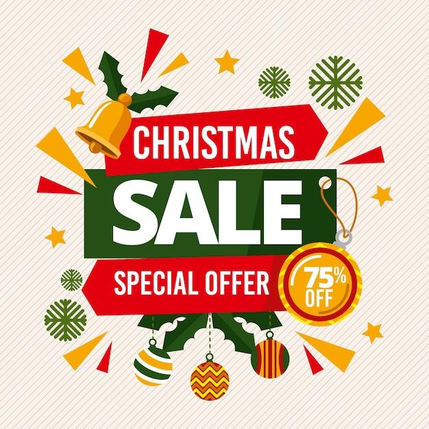 Flat design christmas sale Free Vector