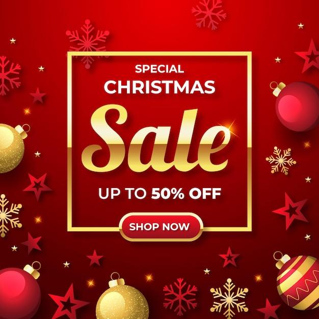 황금과 붉은 장식으로 평면 디자인 크리스마스 판매 프로모션 무료 벡터