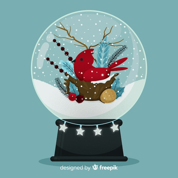 Flat design christmas snowball globe with bird Free Vector