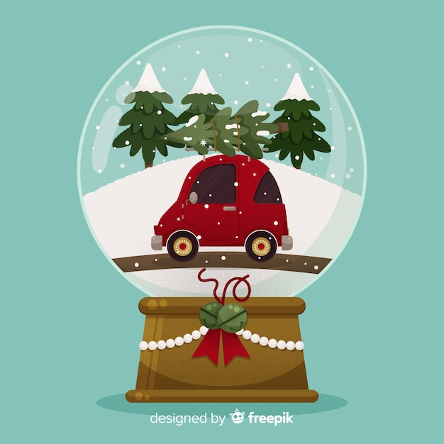 Flat design christmas snowball globe with car Free Vector