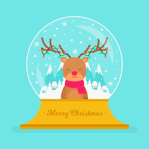 Flat design christmas snowball globe with reindeer Free Vector