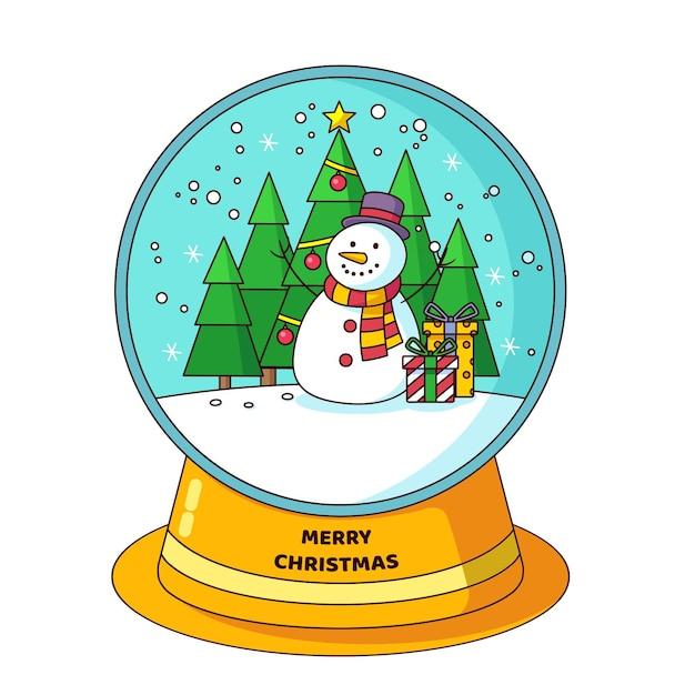 눈사람 및 크리스마스 트리 플랫 디자인 크리스마스 눈덩이 글로브 프리미엄 벡터