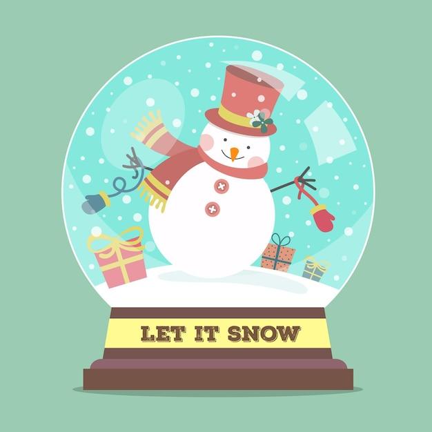 눈사람 플랫 디자인 크리스마스 눈덩이 글로브 프리미엄 벡터