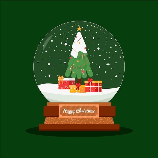 フラットデザインのクリスマススノーボールグローブ 無料ベクター