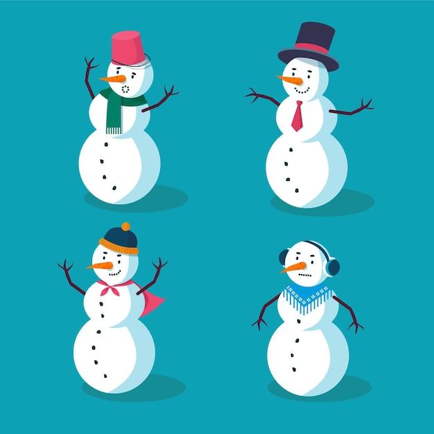 평면 디자인 크리스마스 눈사람 캐릭터 무료 벡터
