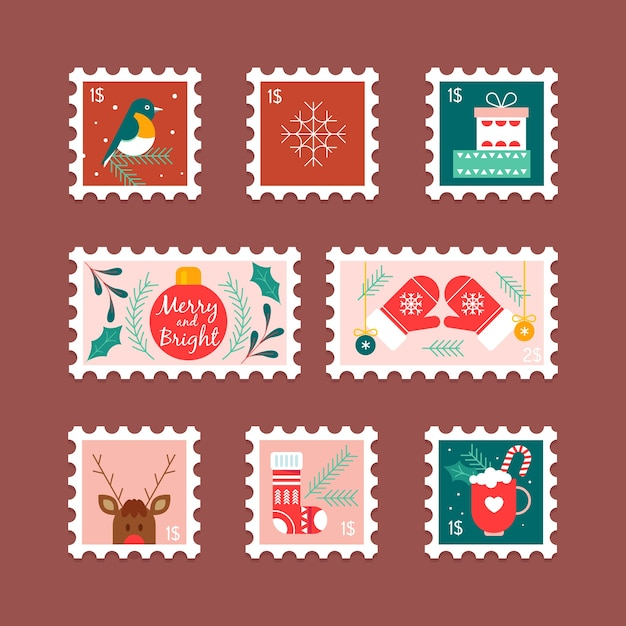 Flat design christmas stamp collection Free Vector
