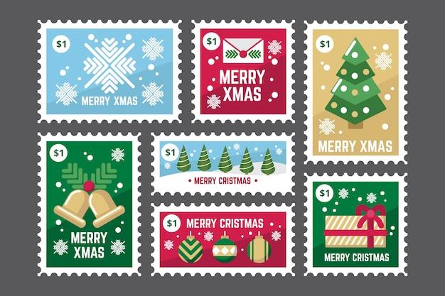 フラットデザインのクリスマス切手コレクション 無料ベクター