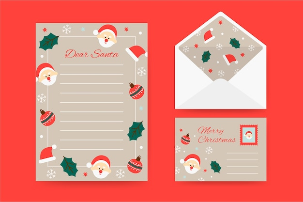 Flat design christmas stationery template collection Free Vector