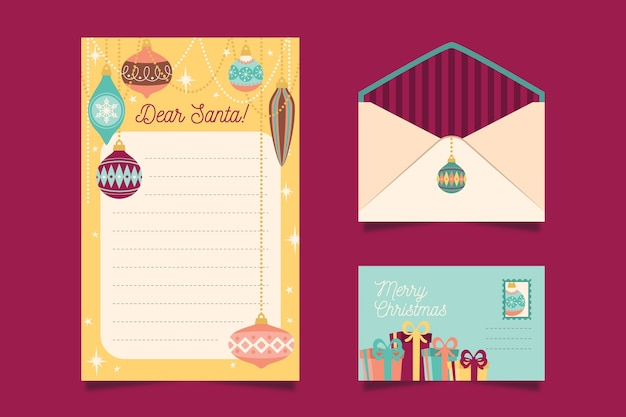 Flat design christmas stationery template set Free Vector