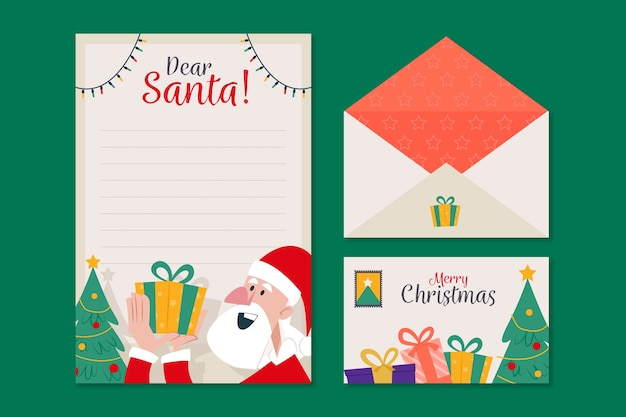 Flat design christmas stationery template Free Vector