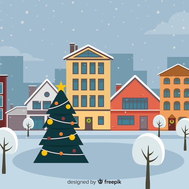 Flat design christmas town background Free Vector