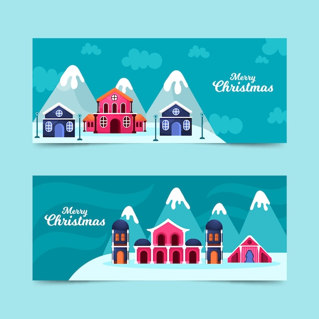 Flat design christmas town banners template Free Vector