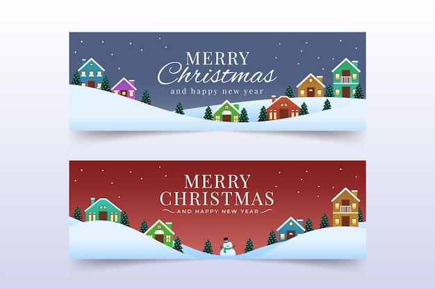 フラットデザインのクリスマスタウンバナーテンプレート Premiumベクター