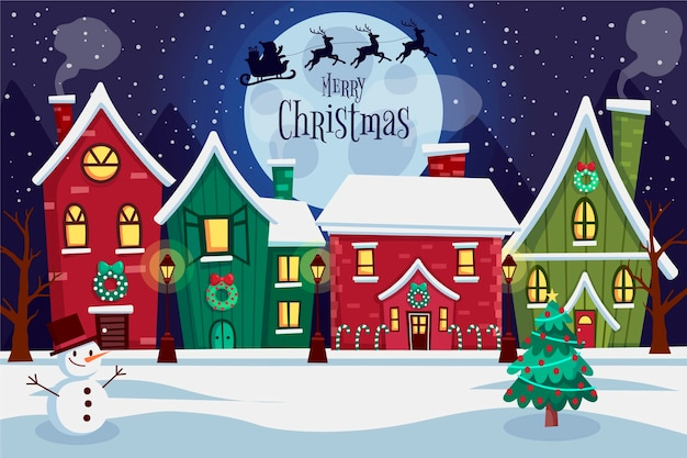 Flat design christmas town Free Vector