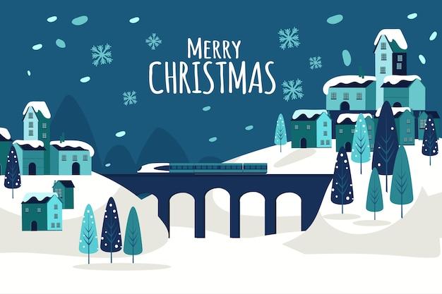 フラットデザインのクリスマスタウン Premiumベクター