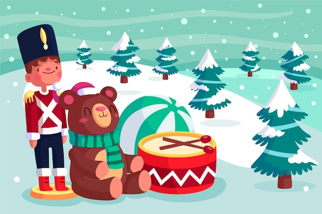 Flat design christmas toys background Free Vector