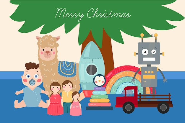 평면 디자인 크리스마스 장난감 배경 무료 벡터