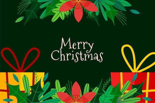 Flat design christmas tree branches background Free Vector