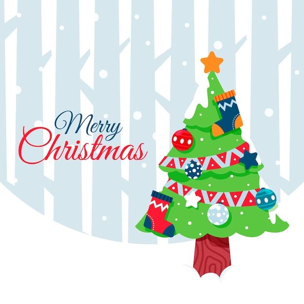 Flat design christmas tree concept Free Vector