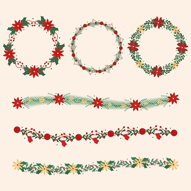 Flat design christmas wreath collection Free Vector