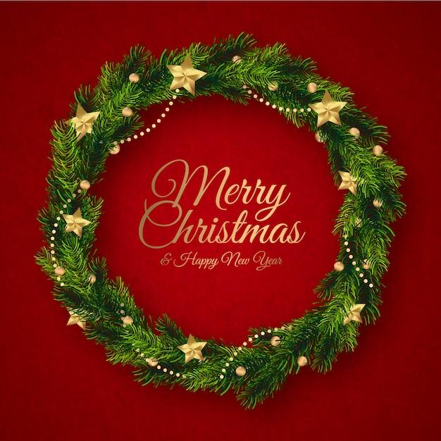 Flat design christmas wreath concept Free Vector