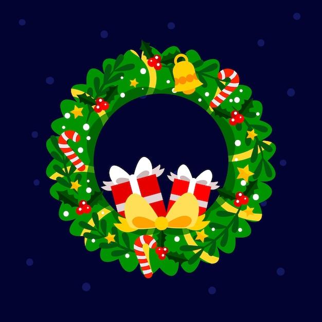 Flat design christmas wreath Free Vector
