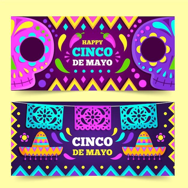 Modello di banner design piatto cinco de mayo Vettore gratuito