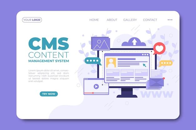 Pagina di destinazione del contenuto cms design piatto Vettore gratuito