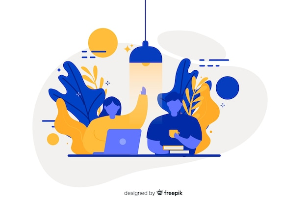 Flat design co-workers concept for landing page Free Vector