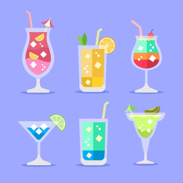Flat design cocktail illustration collection Free Vector
