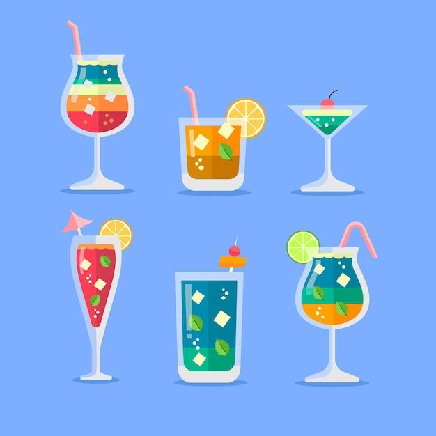 Flat design cocktail illustration set Free Vector