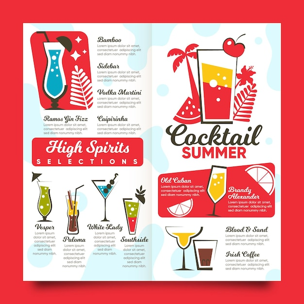 Flat design cocktail menu template Premium Vector