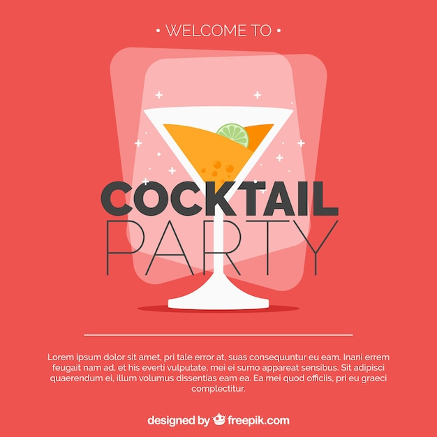 Flat design cocktail party background Free Vector