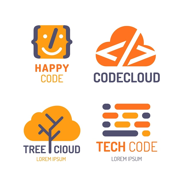 Flat design code logo collection Free Vector