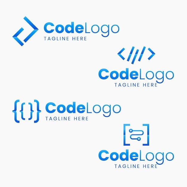 Flat design code logo pack Free Vector