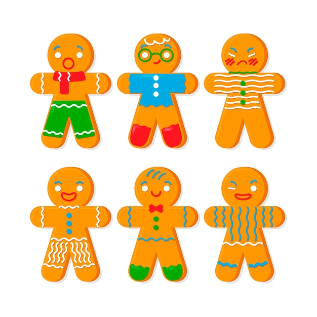 Flat design collection gingerbread man cookie Free Vector