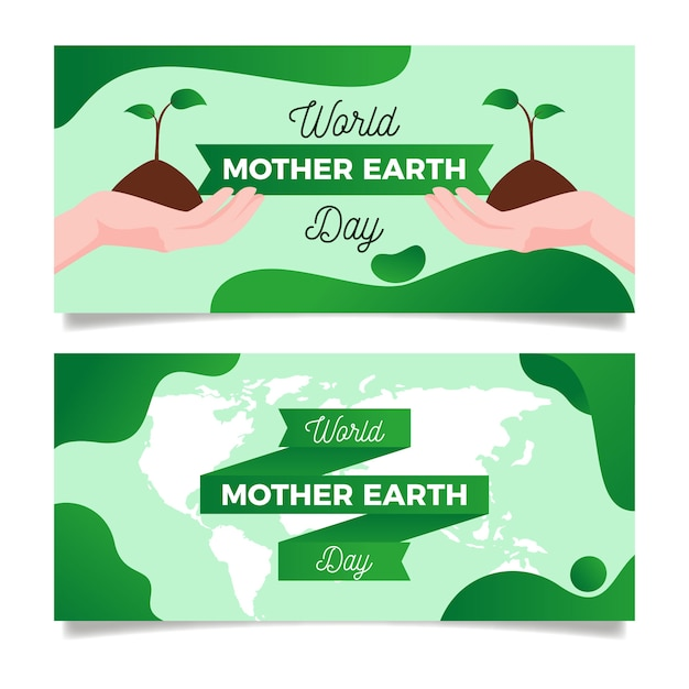 Banner di design piatto collezione madre terra giorno Vettore gratuito