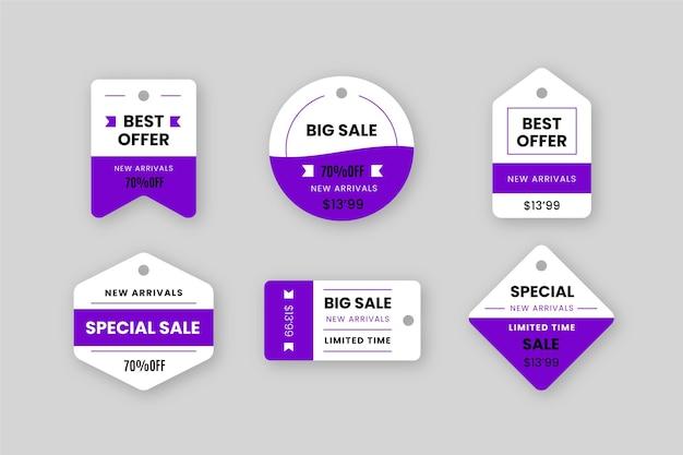 販売タグのフラットデザインコレクション 無料ベクター
