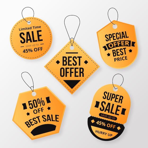 Collezione design piatto di tag di vendita Vettore gratuito