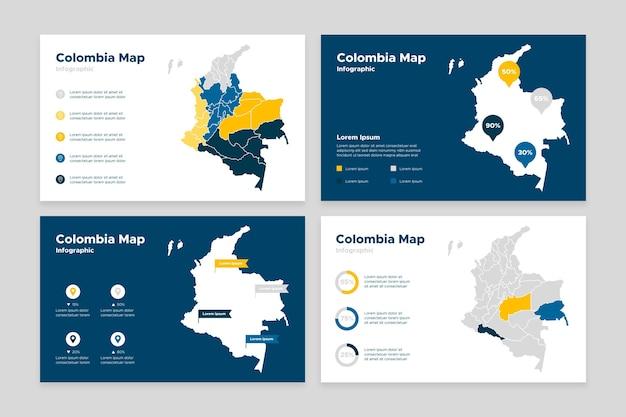 Design piatto colombia mappa infografica Vettore gratuito