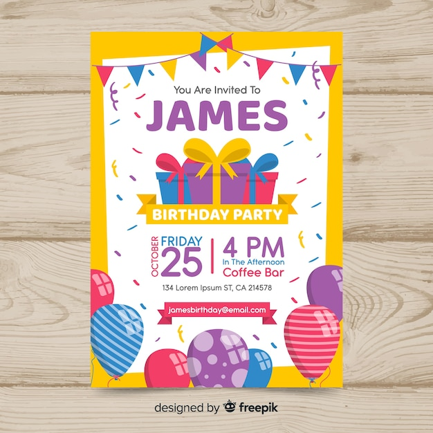 Flat design colorful birthday poster Free Vector