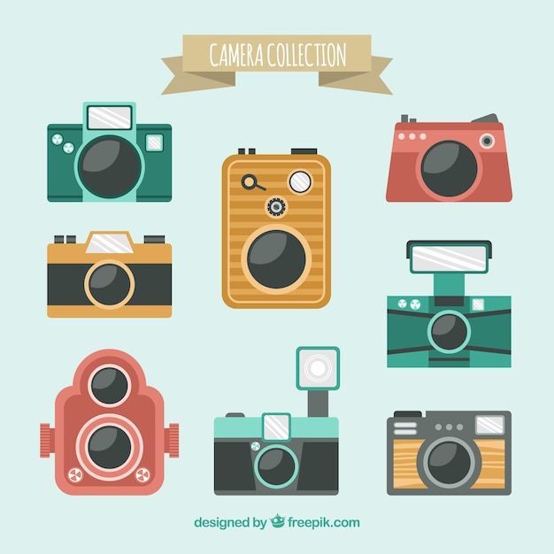 Flat design colorful camera collection