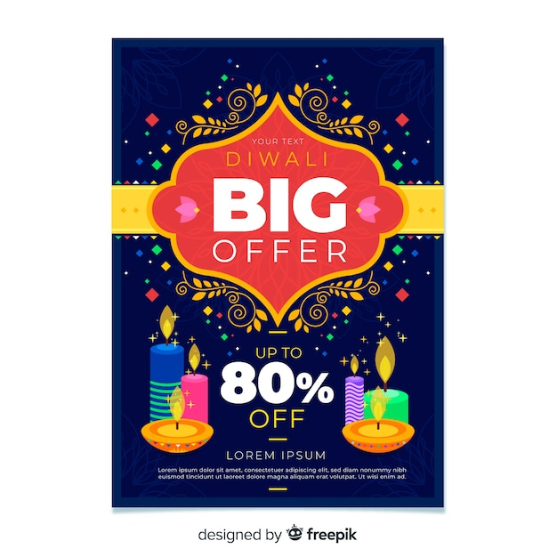 Flat design of colorful diwali sale flyer template Free Vector