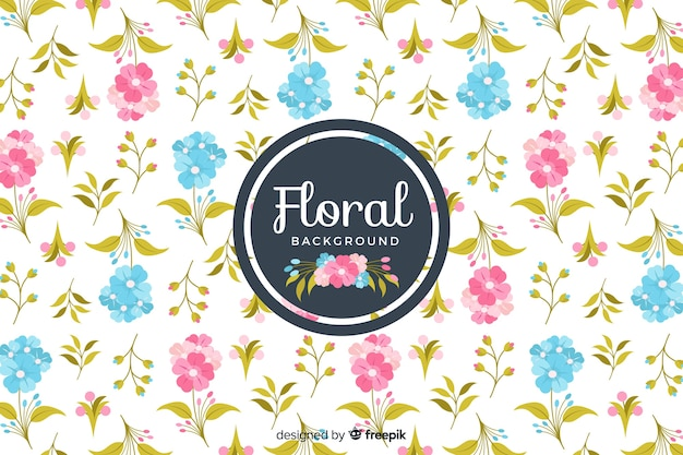 Flat design colorful floral background Free Vector