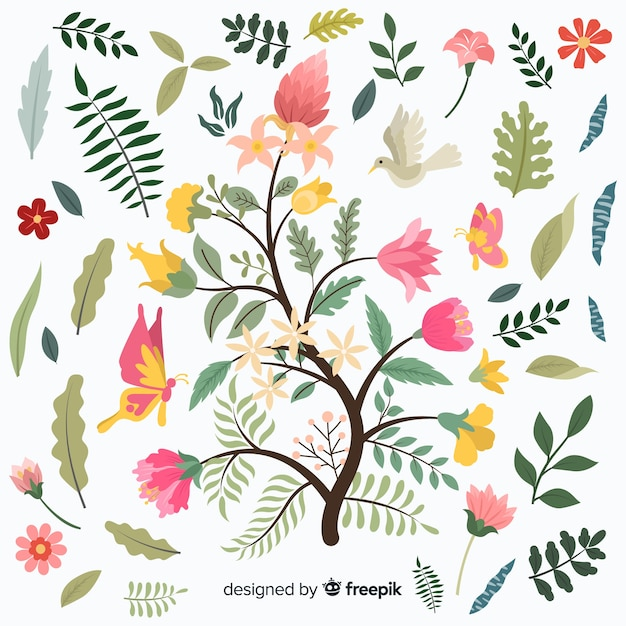 Flat design of colorful floral branch Free Vector